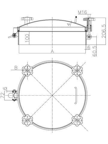 Búvónyílás kerek 200; 300; 400; 500; 600 mm kifelenyíló nagynyomású (D2)