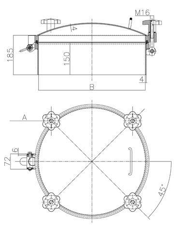 Búvónyílás kerek 300; 400; 450; 500; 600 mm kifelenyíló nagynyomású (D3)