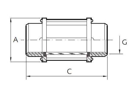 Átfolyásjelző, belső gázmenet / belső gázmenet, coll, rozsdamentes, borászati