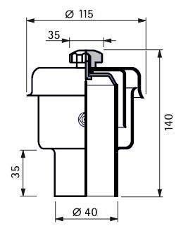 Rozsdamentes légző, folyadék zárású, D40, 150 hl/h, Aisi 304