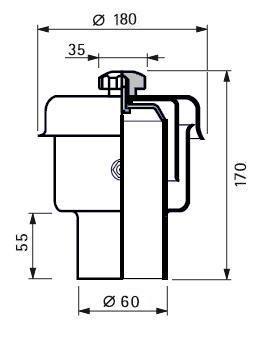 Rozsdamentes légző, folyadék zárású,  D60, 300 hl/h, Aisi 316