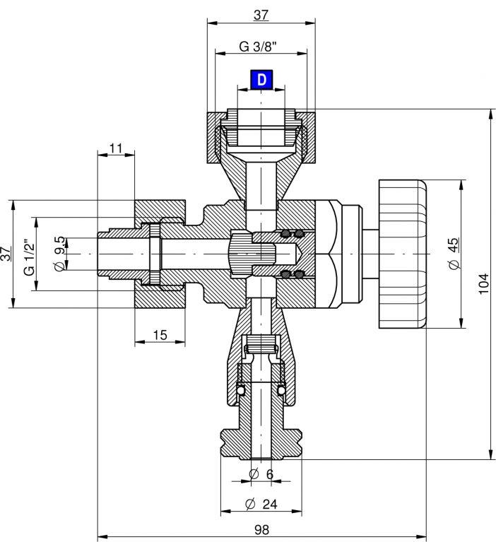 """Mintavevő csap AISI 304 D16 1/2"""" alsó üveg szintjelzővel, 410 Z-típus, rozsdamentes, élelmiszeripari"""