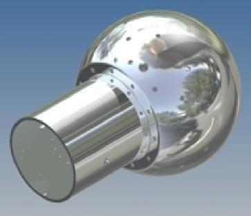 Mosógömb lapított vállú 180' FM - 90 mm fejátmérő, rozsdamentes, élelmiszeripari