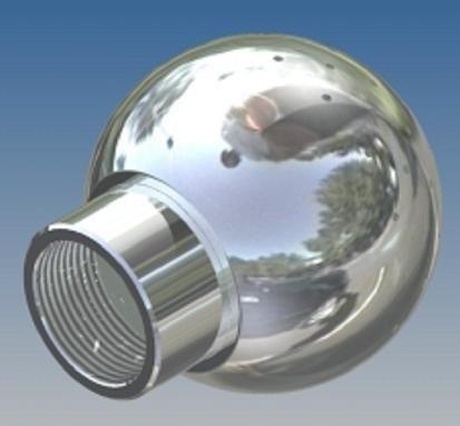 Mosógömb lapított vállú 180' OM - 28 mm fejátmérő, rozsdamentes, élelmiszeripari