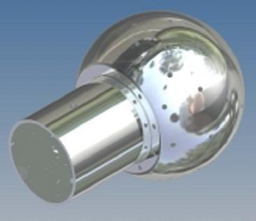 Mosógömb lapított vállú 180' OM - 40 mm fejátmérő, rozsdamentes, élelmiszeripari