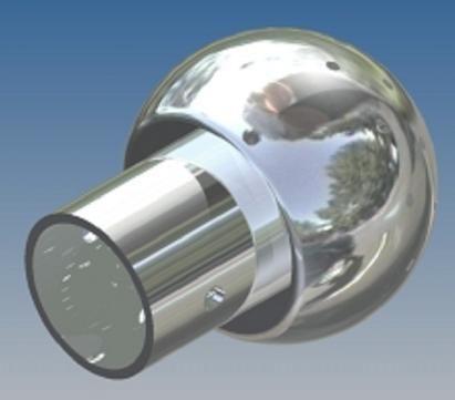 Mosógömb lapított vállú 180' OM - 90 mm fejátmérő, rozsdamentes, élelmiszeripari