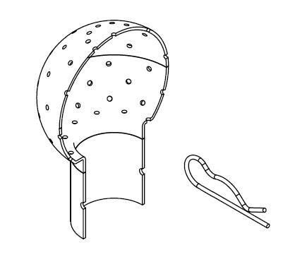 Mosógömb lapított vállú 360' - 40 mm fejátmérő, rozsdamentes, élelmiszeripari