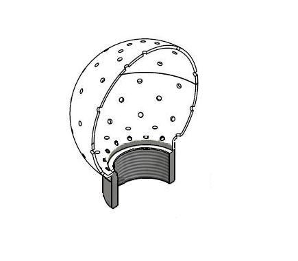 Mosógömb lapított vállú 360' - 65 mm fejátmérő, rozsdamentes, élelmiszeripari