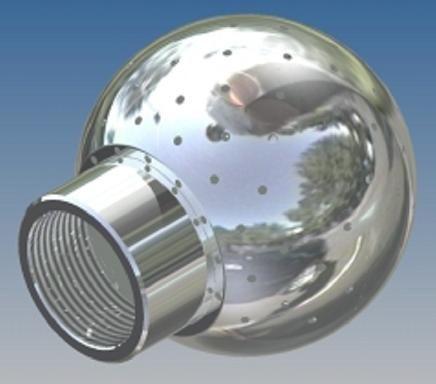 Mosógömb lapított vállú 360' - 90 mm fejátmérő, rozsdamentes, élelmiszeripari