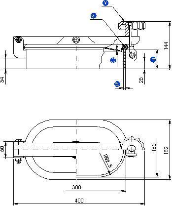 Búvónyílás alsó négyszögletes 300x165 mm kifelenyíló (Z/175)