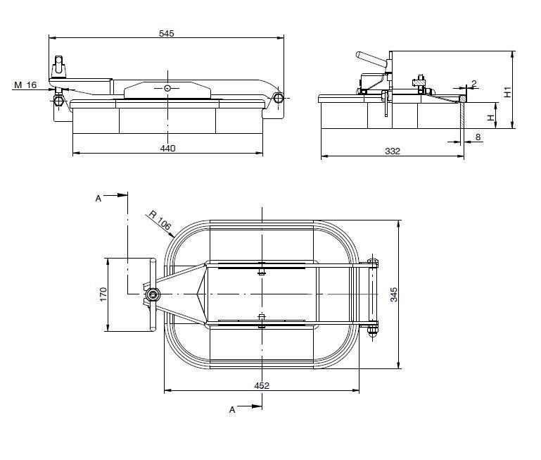 Búvónyílás alsó négyszögletes 440x332 mm kifelenyíló (165)