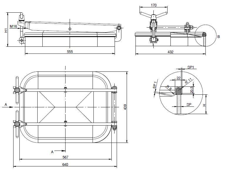Búvónyílás alsó négyszögletes 555x432 mm kifelenyíló (1600)