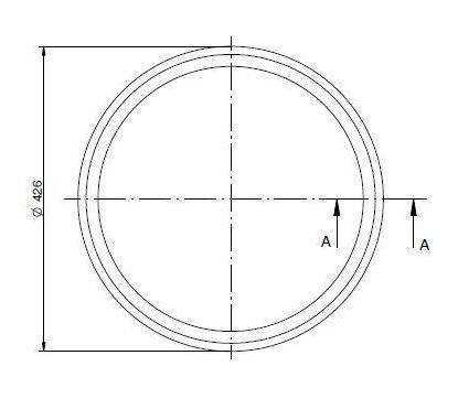 Búvónyílás alsó ovális 540x440 mm befelenyíló (200/R)