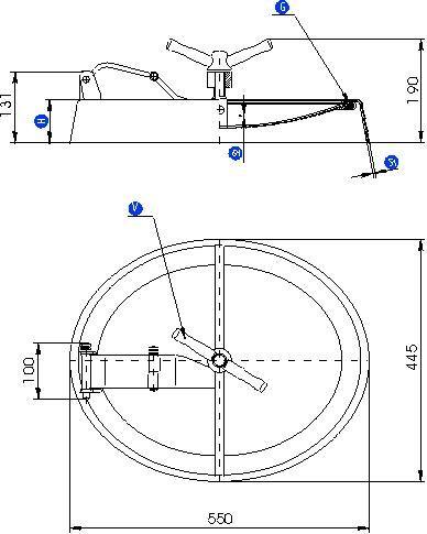 Búvónyílás alsó ovális 546x447 mm befelenyíló (190)