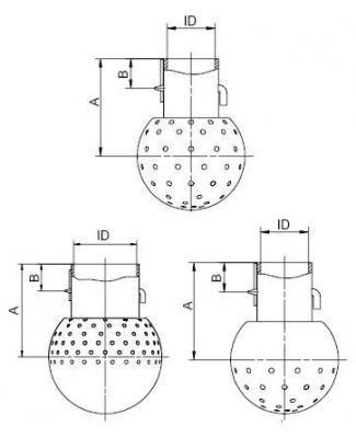 Mosógömb lapított vállú 64 mm fejátmérő, (ISO25 ISO2037), 2mm furat, rozsdamentes, élelmiszeripari, prémium