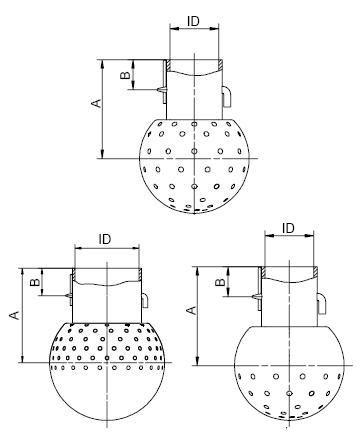 Mosógömb lapított vállú 94 mm fejátmérő, (ISO51 ISO2037), 3mm furat, rozsdamentes, élelmiszeripari, prémium