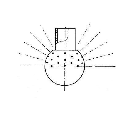 Mosógömb lapított vállú 180' FM - 28 mm fejátmérő, rozsdamentes, élelmiszeripari