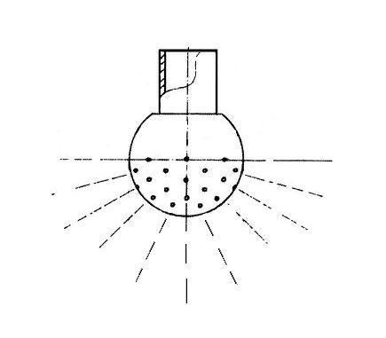Mosógömb lapított vállú 180' LM - 28 mm fejátmérő, rozsdamentes, élelmiszeripari