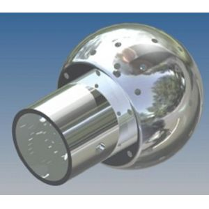 Mosógömb lapított vállú 360' - 50 mm fejátmérő, rozsdamentes, élelmiszeripari